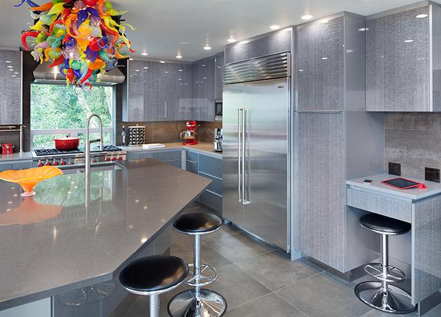 Noche Grigio Laminated Glass Cabinets   Kitchen